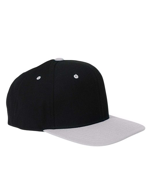 Yupoong Adult 6-Panel Structured Flat Visor Classic Snapback - Black/ Silver
