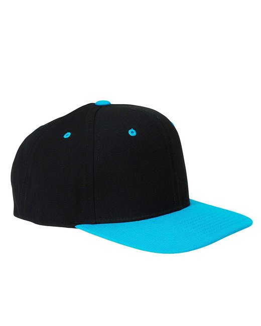 Yupoong Adult 6-Panel Structured Flat Visor Classic Snapback - Black/ Teal