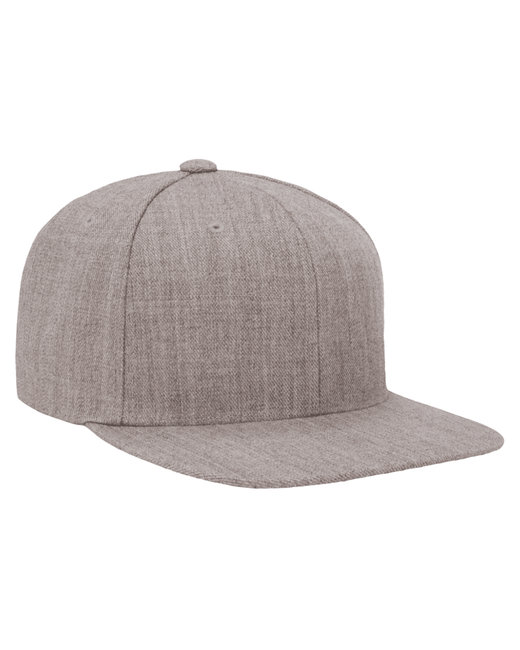 Yupoong Adult 6-Panel Structured Flat Visor Classic Snapback - Heather Grey