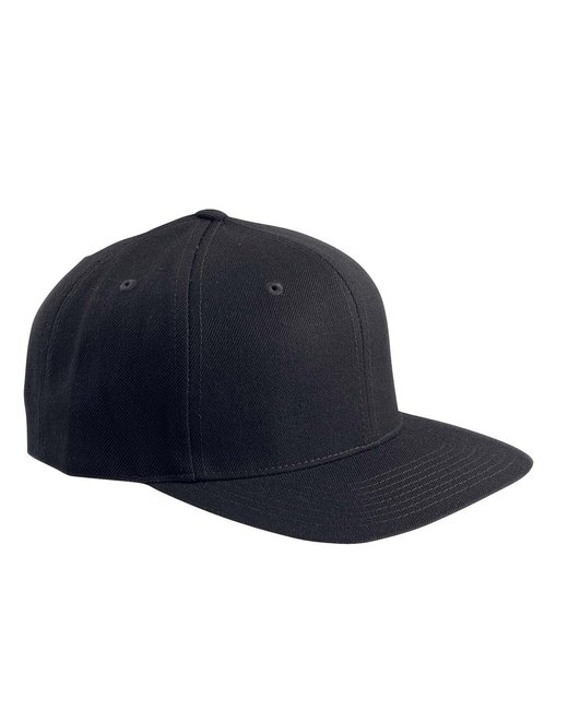 Yupoong Adult 6-Panel Structured Flat Visor Classic Snapback - Black