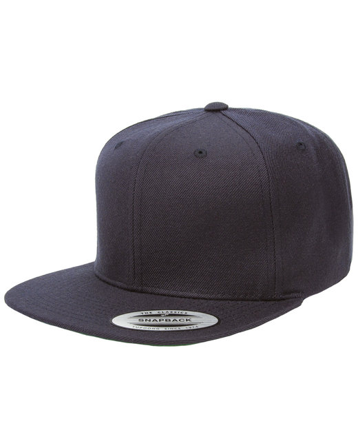 Yupoong Adult 6-Panel Structured Flat Visor Classic Snapback - Dark Navy