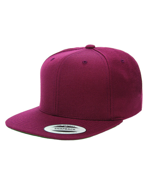 Yupoong Adult 6-Panel Structured Flat Visor Classic Snapback - Maroon