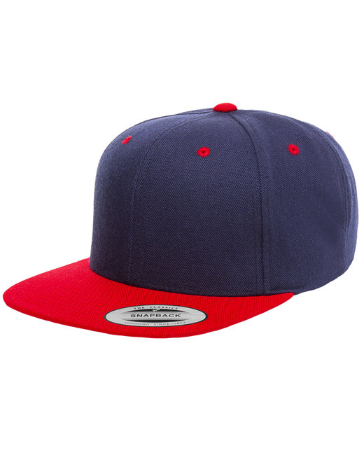 Yupoong Adult 6-Panel Structured Flat Visor Classic Snapback - Navy/ Red