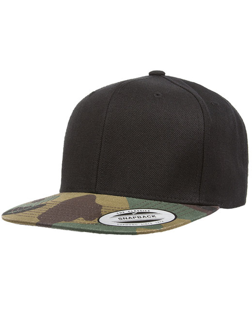 Yupoong Adult 6-Panel Structured Flat Visor Classic Snapback - Black/ Camo