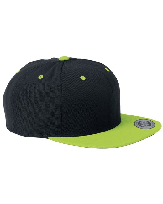 Yupoong Adult 6-Panel Structured Flat Visor Classic Snapback - Black/ Neon Grn