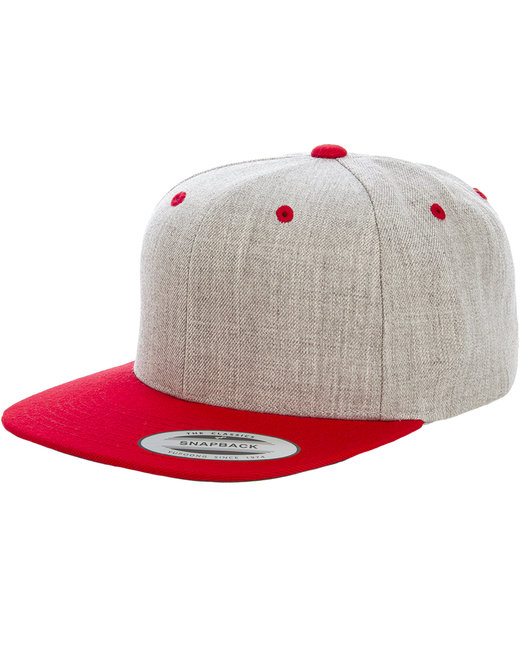 Yupoong Adult 6-Panel Structured Flat Visor Classic Two-Tone Snapback - Heather/ Red