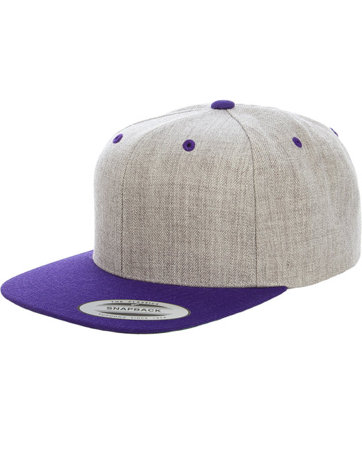 Yupoong Adult 6-Panel Structured Flat Visor Classic Two-Tone Snapback - Heather/ Purple