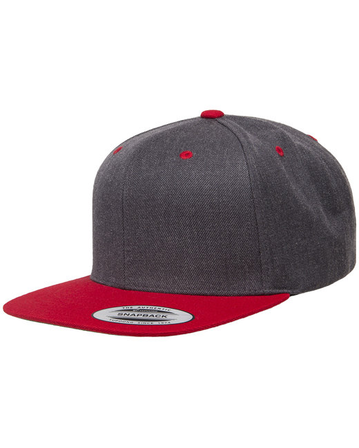 Yupoong Adult 6-Panel Structured Flat Visor Classic Two-Tone Snapback - Drk Hthr/ Red