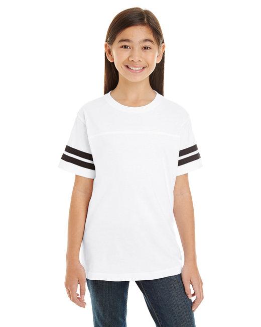 LAT Youth Football Fine Jersey T-Shirt - White/ Black