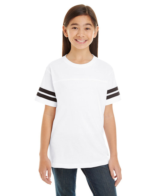 LAT Youth Football Fine Jersey T-Shirt - White/ Black