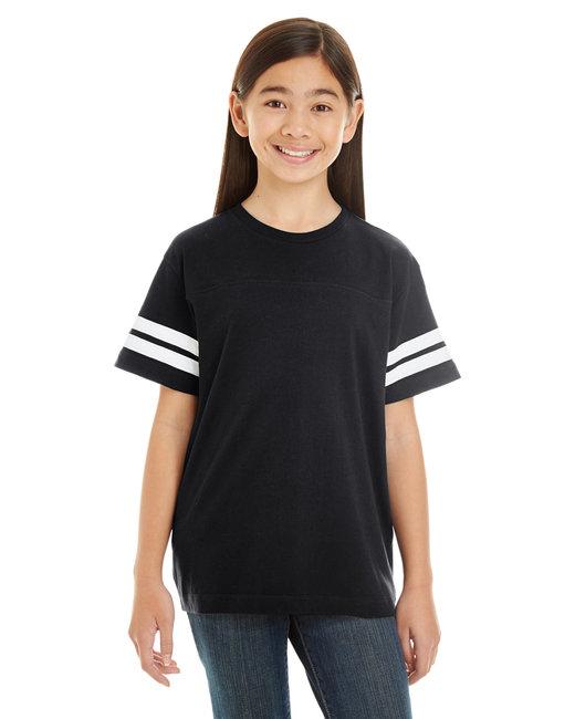 LAT Youth Football Fine Jersey T-Shirt - Black/ White