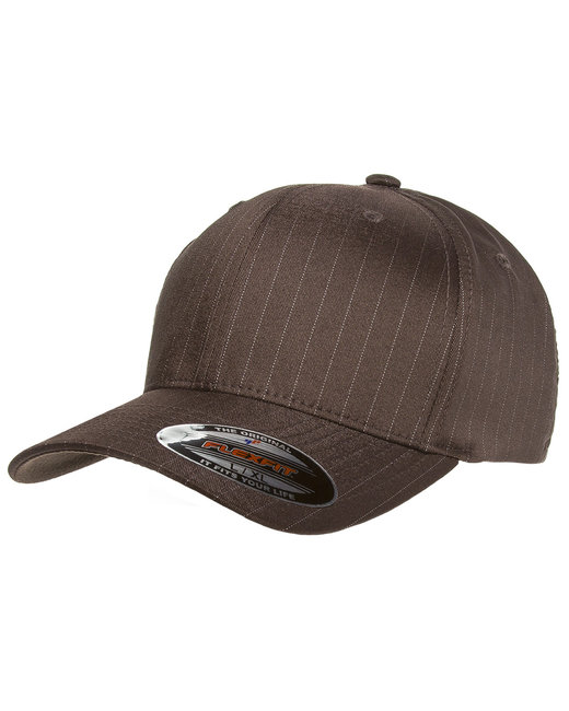 Yupoong Flexfit Pinstripe Cap - Brown/ White