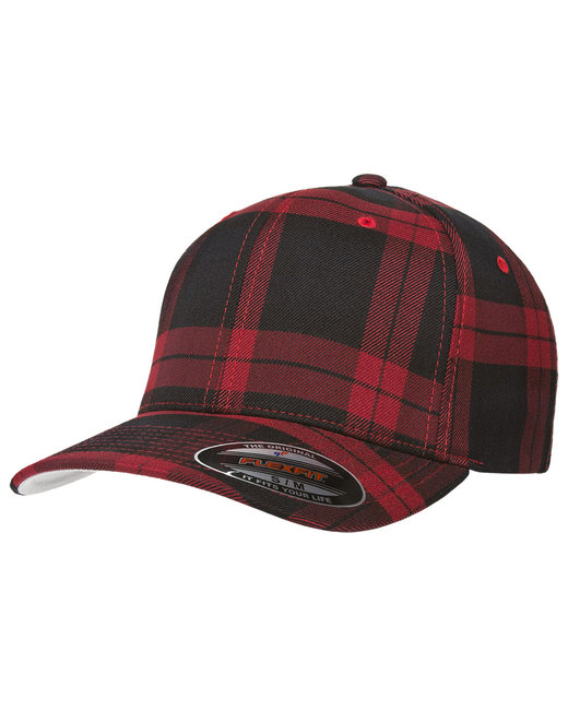 Yupoong Flexfit Tartan Plaid Cap - Black/Red