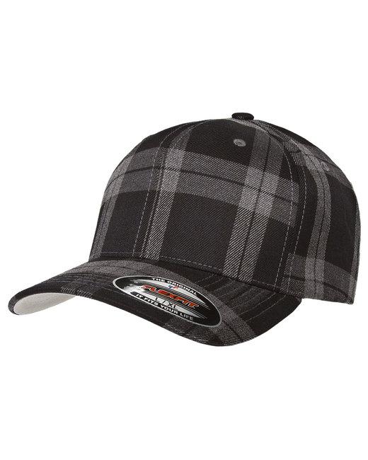 Yupoong Flexfit Tartan Plaid Cap - Black/Gray