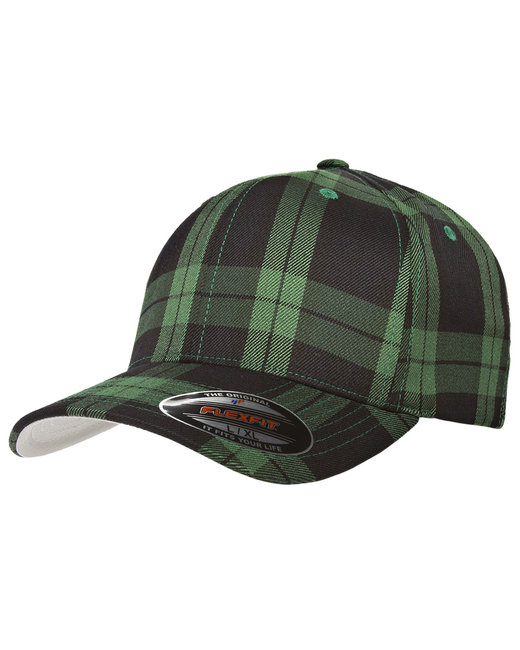 Yupoong Flexfit Tartan Plaid Cap - Black/Green