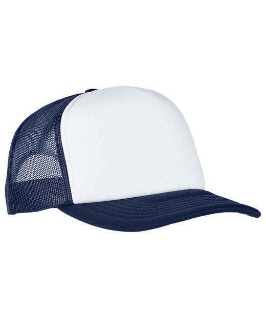 Yupoong Adult Classics Curved Visor Foam Trucker Cap - Navy/ Wht/ Navy