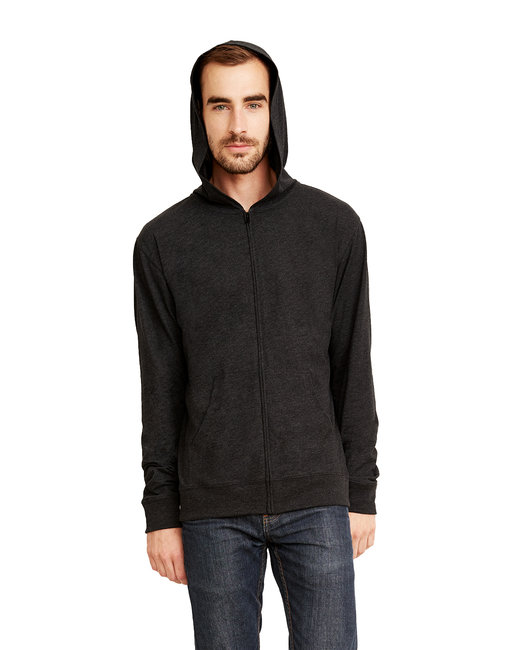 Next Level Adult Sueded Full-Zip Hoody - Heather Charcoal