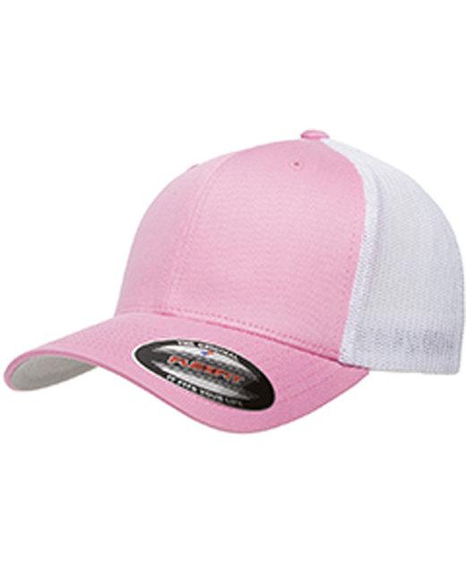 Flexfit Adult 6-Panel Trucker Cap - Pink/ White