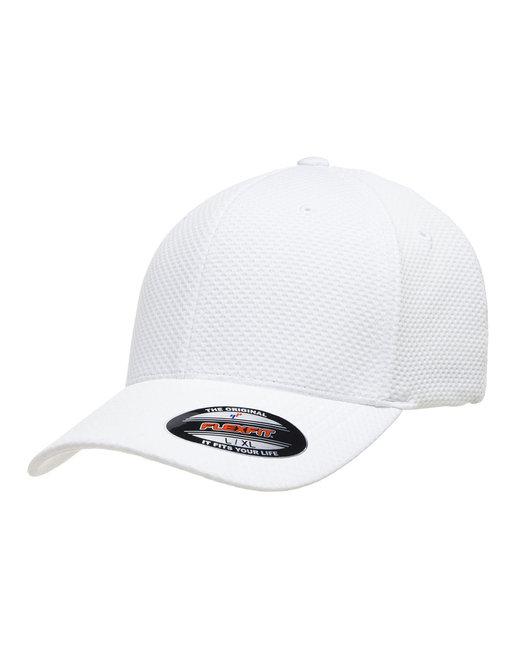 Yupoong Flexfit Cool & Dry 3D Hexagon Jersey Cap - White