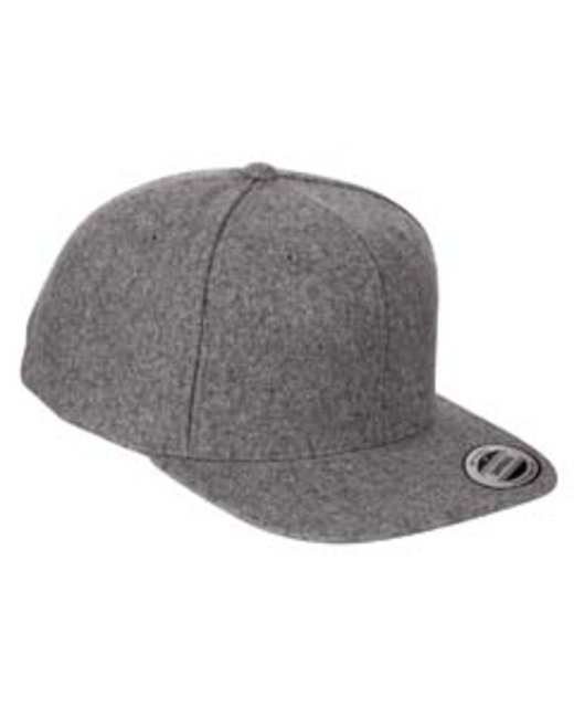 Yupoong Adult 6-Panel Melton Wool Structured Flat Visor Classic Snapback Cap - Dark Grey