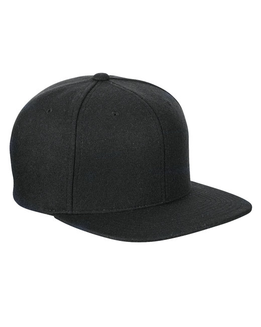 Yupoong Adult 6-Panel Melton Wool Structured Flat Visor Classic Snapback Cap - Black
