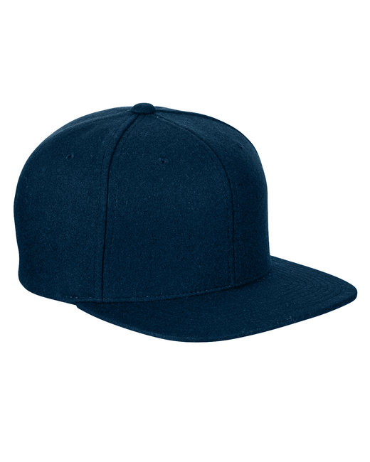 Yupoong Adult 6-Panel Melton Wool Structured Flat Visor Classic Snapback Cap - Navy