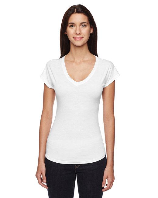 Anvil Ladies' Triblend V-Neck T-Shirt - White