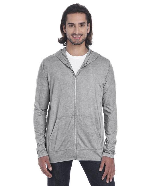 Anvil Adult Triblend Full-Zip Jacket - Heathergrey