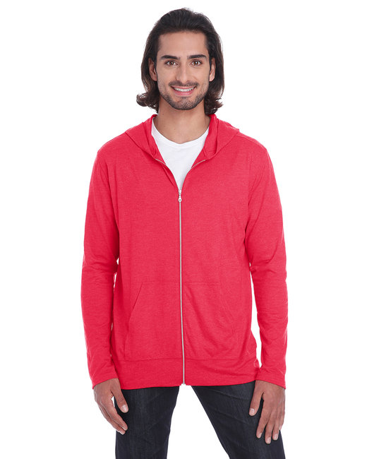 Anvil Adult Triblend Full-Zip Jacket - Heather Red