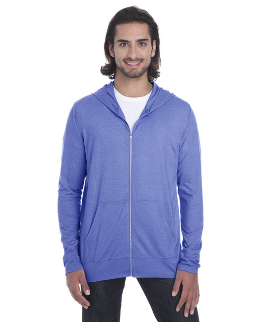 Anvil Adult Triblend Full-Zip Jacket - Heather Blue