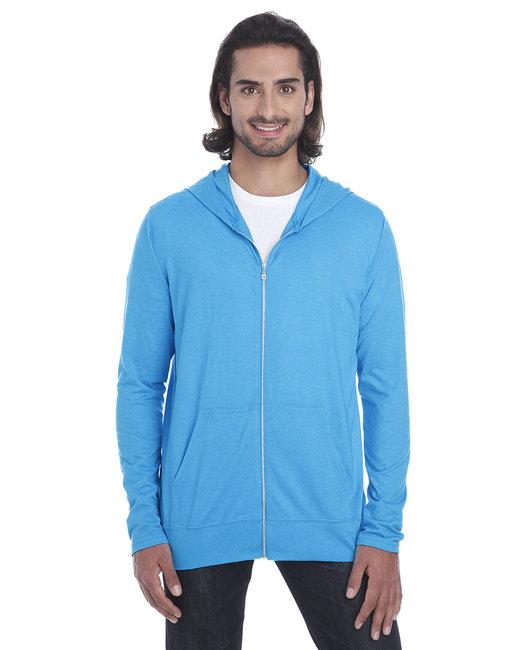 Anvil Adult Triblend Full-Zip Jacket - Hthr Carib Blue