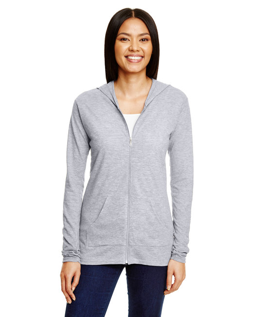 Anvil Ladies' Triblend Full-Zip Jacket - Heather Grey