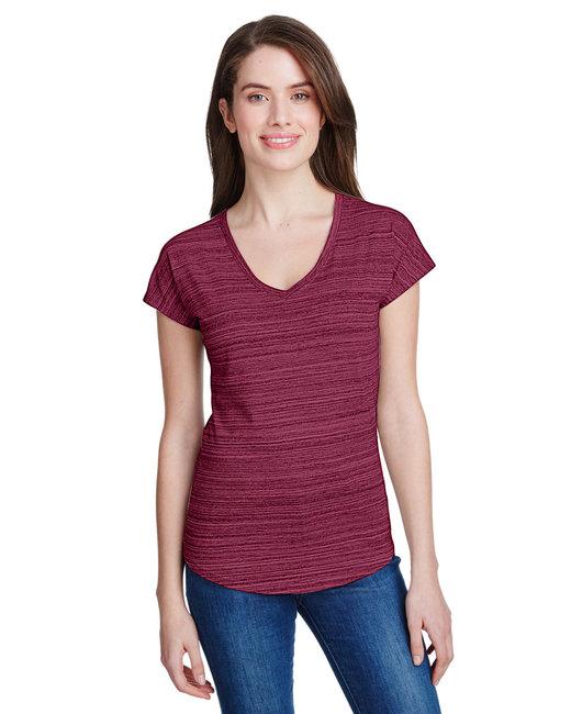 Anvil Ladies' Streak V-Neck T-Shirt - Id Maroon
