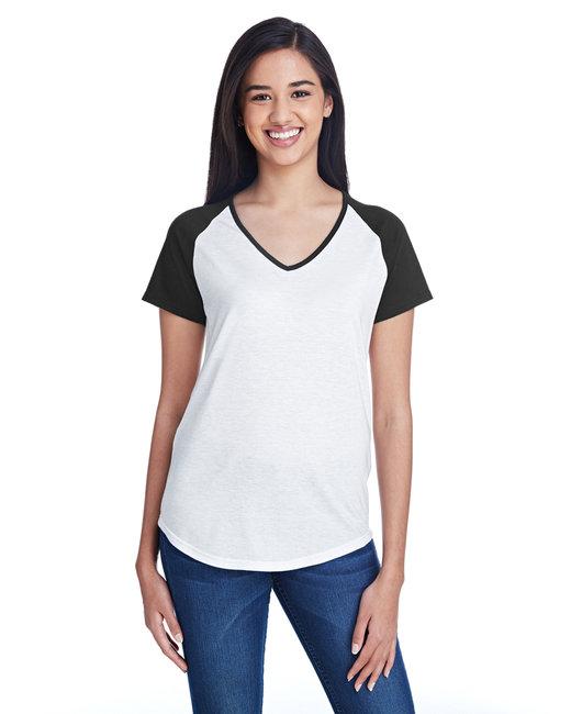 Anvil Ladies' Tri-Blend Raglan T-Shirt - White/ Black