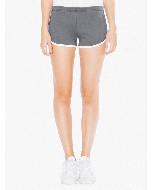 American Apparel Ladies' Interlock Running Shorts - Asphalt/ White