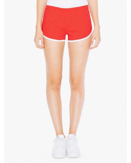 American Apparel Ladies' Interlock Running Shorts - Red/ White