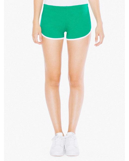 American Apparel Ladies' Interlock Running Shorts - Kelly/ White