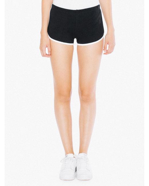 American Apparel Ladies' Interlock Running Shorts - Black/ White