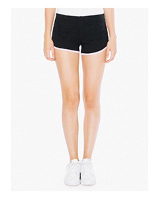 American Apparel Ladies' Interlock Running Shorts - Black/ Pink