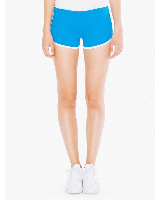 American Apparel Ladies' Interlock Running Shorts - Teal/ White