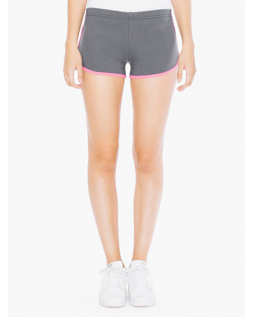 American Apparel Ladies' Interlock Running Shorts - Asphalt/ Fuchsia