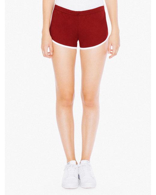 American Apparel Ladies' Interlock Running Shorts - Cranberry/ White