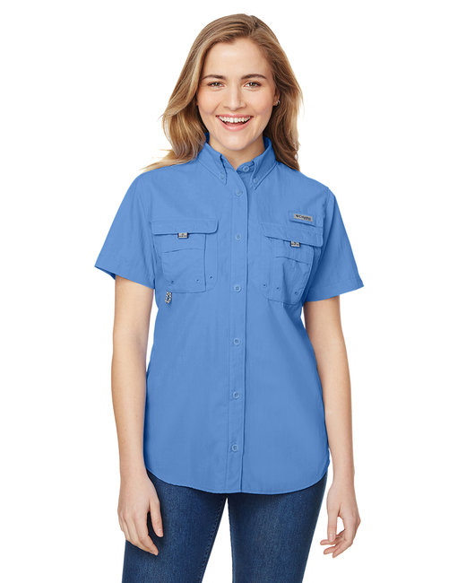 Columbia Ladies' Bahama� Short-Sleeve Shirt - White Cap Blue