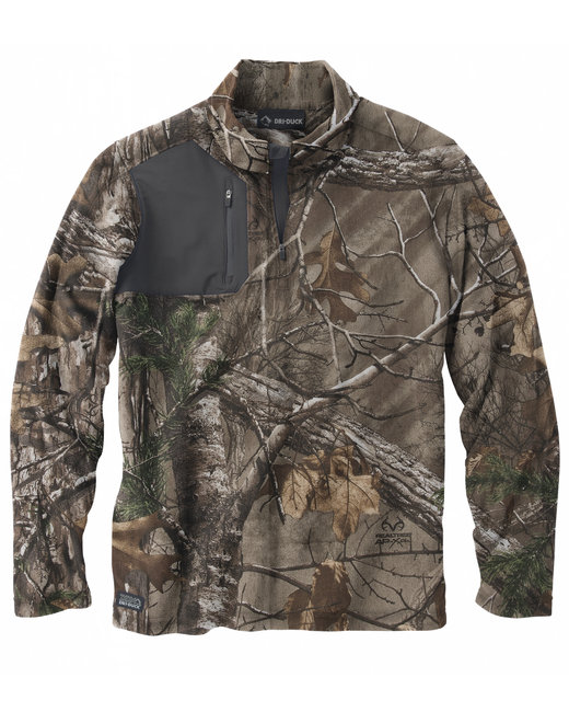 Dri Duck Men's 100% Polyester Nano Fleece TM 1/4 Zip Interval Pullover - Realtree Extra