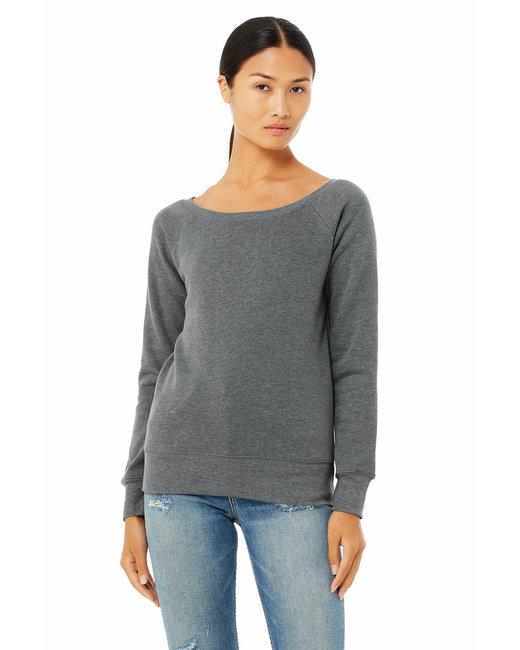Bella + Canvas Ladies' Sponge Fleece Wide Neck Sweatshirt - Deep Heather