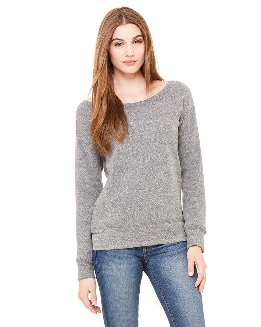 Bella + Canvas Ladies' Sponge Fleece Wide Neck Sweatshirt - Grey Triblend