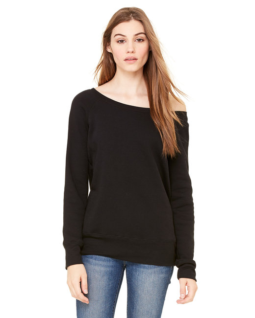 Bella + Canvas Ladies' Sponge Fleece Wide Neck Sweatshirt - Black