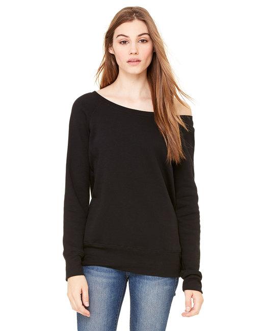 Bella + Canvas Ladies' Sponge Fleece Wide Neck Sweatshirt - Solid Blk Trblnd