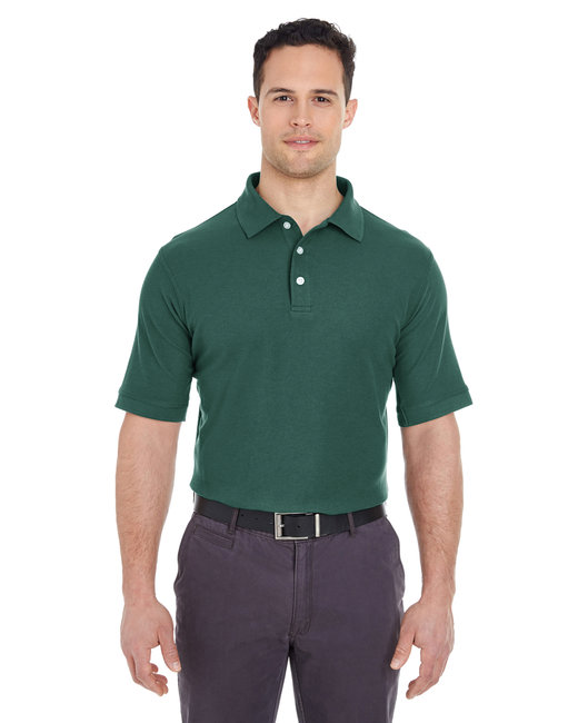 UltraClub Men's Platinum Honeycomb Piqué Polo - Forest Green
