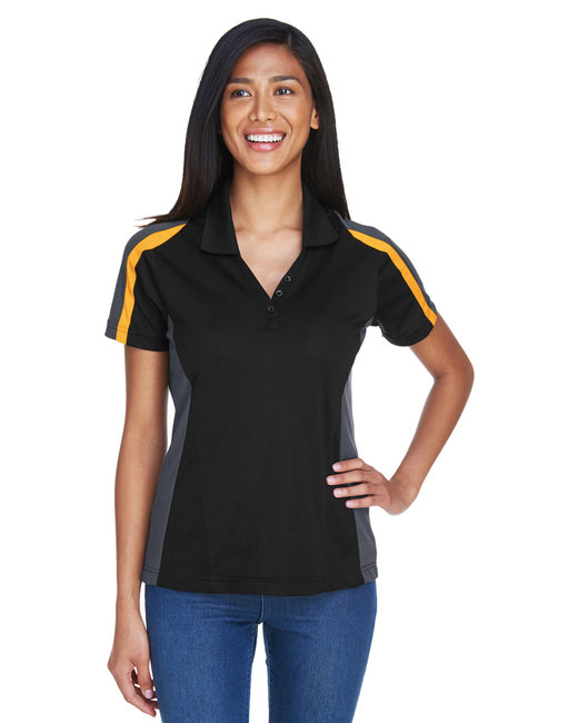 Extreme Ladies' Eperformance™ Strike Colorblock Snag Protection Polo - Blk/ Cmps Gold